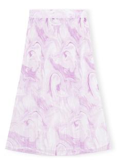 Ganni Watercolor Print Pleated Georgette Skirt