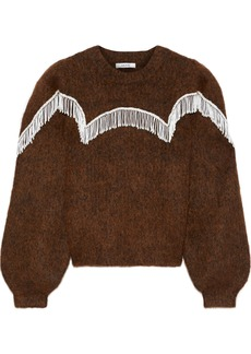 Ganni Woman Aberdeen Bead-embellished Brushed Knitted Sweater Chocolate