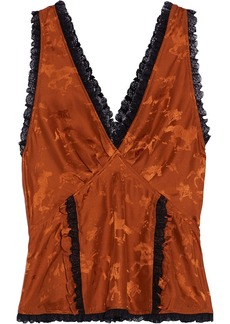 Ganni Woman Ackerly Lace-trimmed Silk-satin Jacquard Top Copper