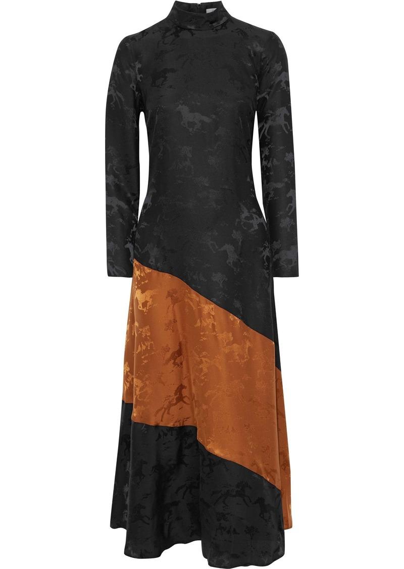Ganni Woman Ackerly Two-tone Silk-satin Jacquard Maxi Dress Black