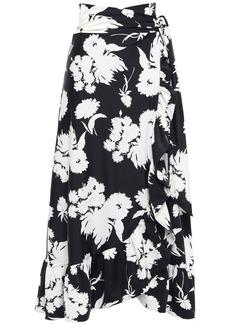 Ganni Woman Alameda Floral-print Scuba Midi Wrap Skirt Black