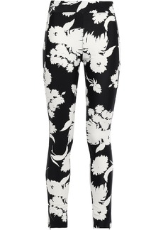 Ganni Woman Alameda Floral-print Stretch-jersey Leggings Black