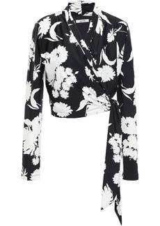 Ganni Woman Alameda Floral-print Stretch-jersey Wrap Top Black