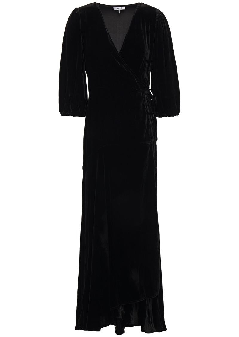 Ganni Woman Aldine Velvet Maxi Wrap Dress Black