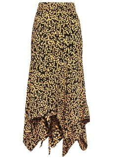Ganni Woman Asymmetric Floral-print Crepe Midi Skirt Black