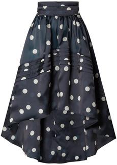 Ganni Woman Asymmetric Polka-dot Silk-organza Skirt Midnight Blue