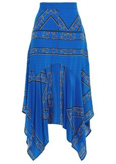 Ganni Woman Asymmetric Printed Silk Crepe De Chine Midi Skirt Cobalt Blue