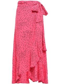 Ganni Woman Barra Floral-print Crepe De Chine Midi Wrap Skirt Pink