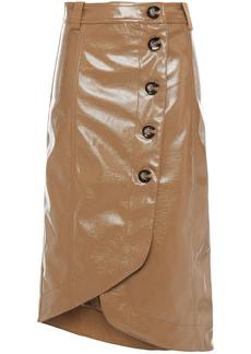Ganni Woman Asymmetric Wrap-effect Faux Patent-leather Skirt Camel