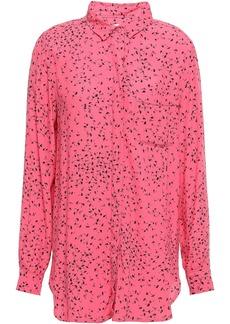 Ganni Woman Barra Floral-print Crepe Shirt Pink