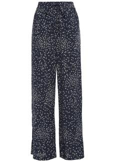 Ganni Woman Barra Floral-print Crepe Wide-leg Pants Midnight Blue