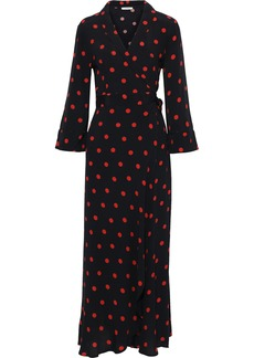 Ganni Woman Barra Printed Crepe De Chine Maxi Wrap Dress Black