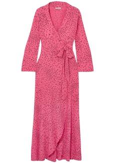 Ganni Woman Barra Printed Crepe De Chine Maxi Wrap Dress Pink