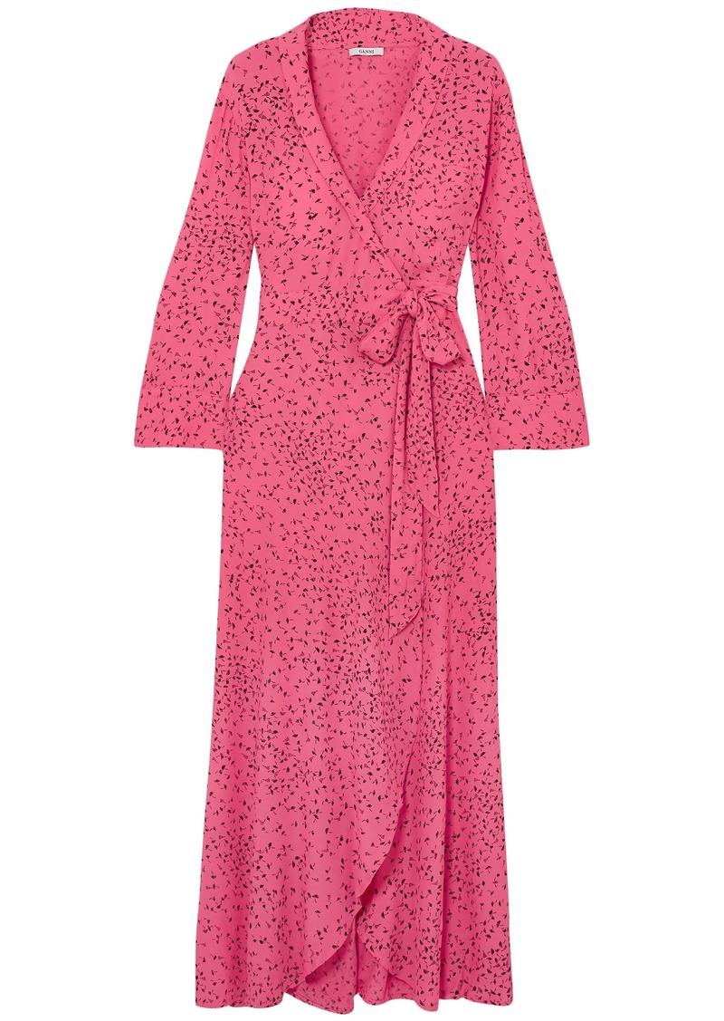 Ganni Woman Barra Printed Crepe Maxi Wrap Dress Pink