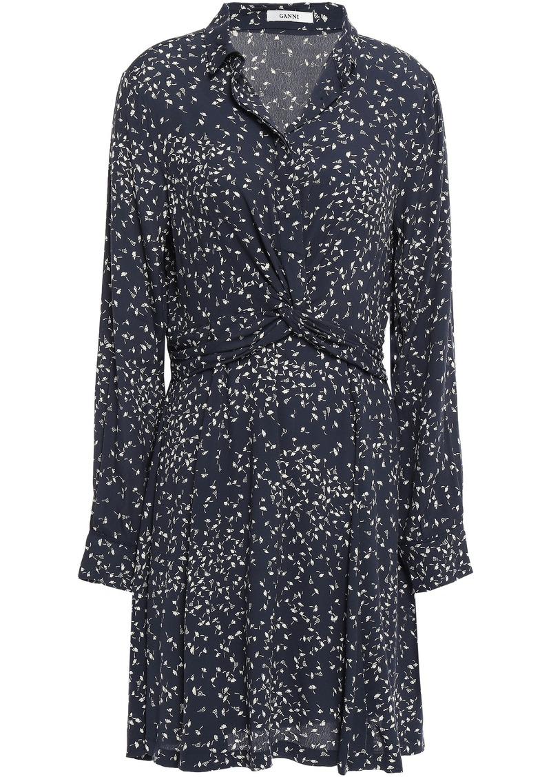 Ganni Woman Barra Twist-front Floral-print Crepe Shirt Dress Navy