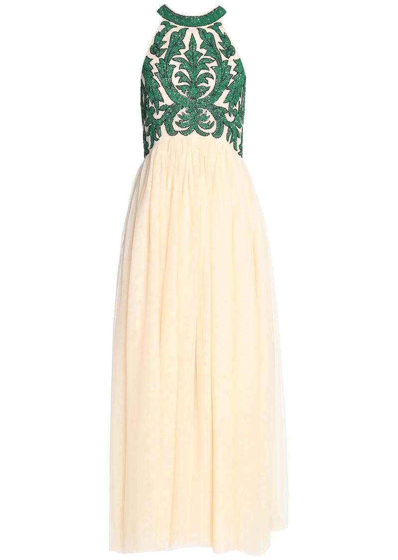 Ganni Woman Bead-embellished Pleated Tulle Maxi Dress Beige