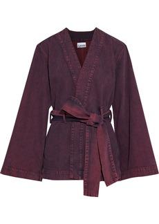 Ganni Woman Belted Acid-wash Denim Kimono Plum