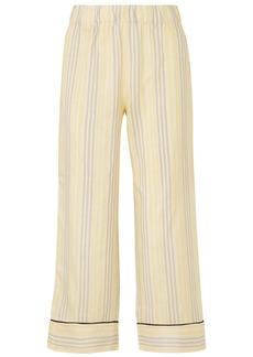 Ganni Woman Bergamot Striped Silk Straight-leg Pants Ivory