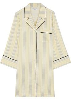 Ganni Woman Bergamot Striped Silk Tunic Pastel Yellow