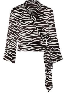 Ganni Woman Blakely Zebra-print Silk-blend Wrap Top Black