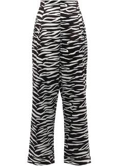 Ganni Woman Blakely Zebra-print Stretch-silk Wide-leg Pants Animal Print