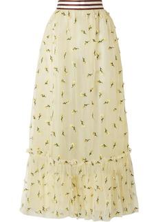 Ganni Woman Bliss Floral-appliquéd Tulle Maxi Skirt Pastel Yellow