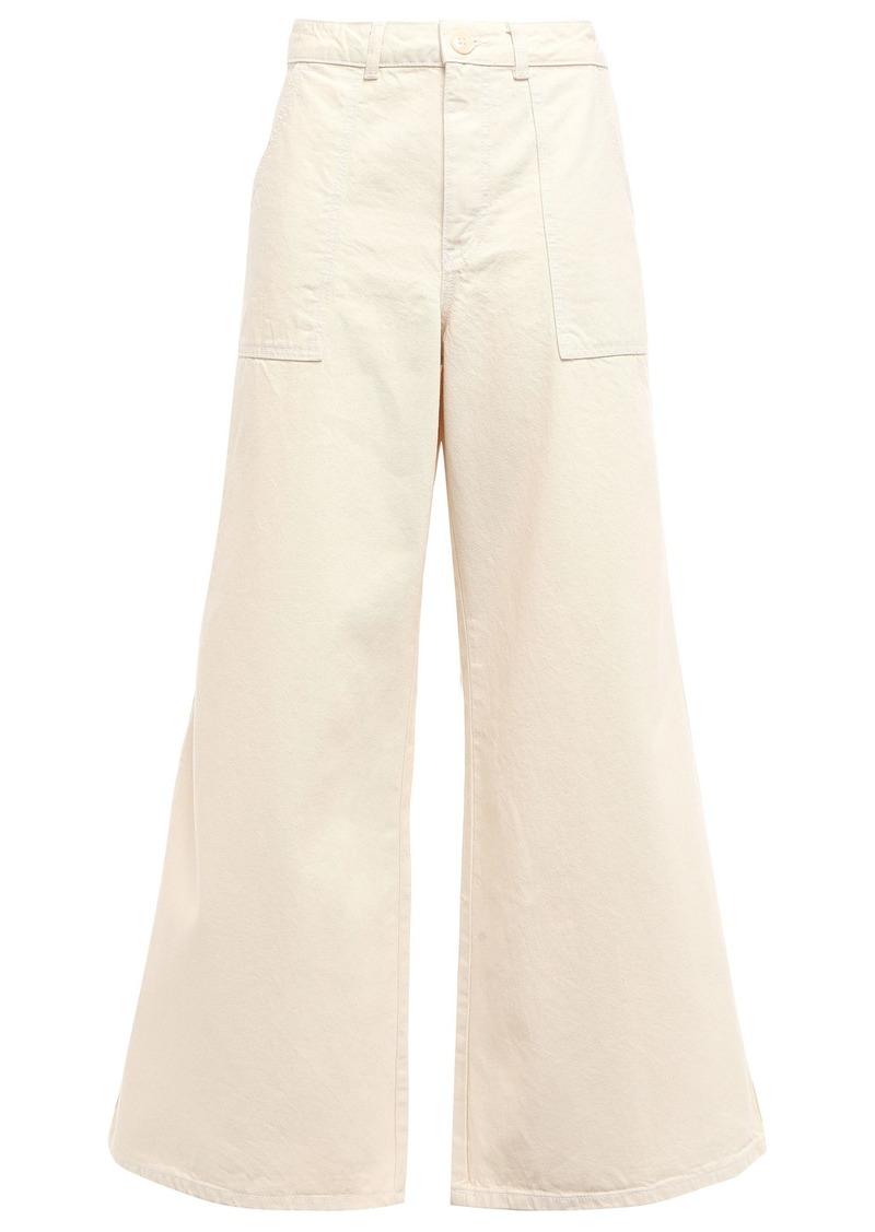 Ganni Woman Bluebell High-rise Wide-leg Jeans Cream