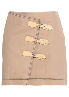 Ganni Woman Buckled Cotton-twill Mini Skirt Sand