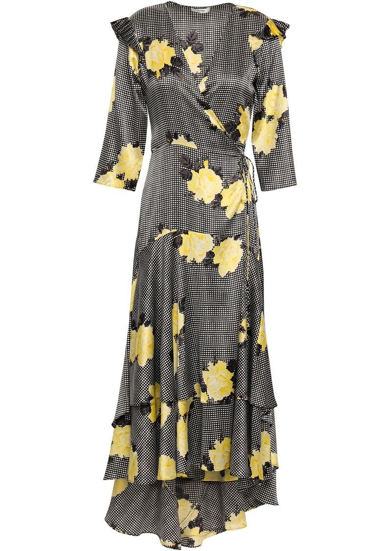 Ganni Woman Calla Printed Stretch-silk Satin Midi Wrap Dress Black