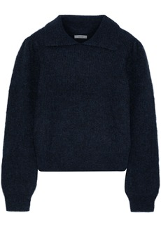 Ganni Woman Callahan Brushed Ribbed-knit Sweater Midnight Blue
