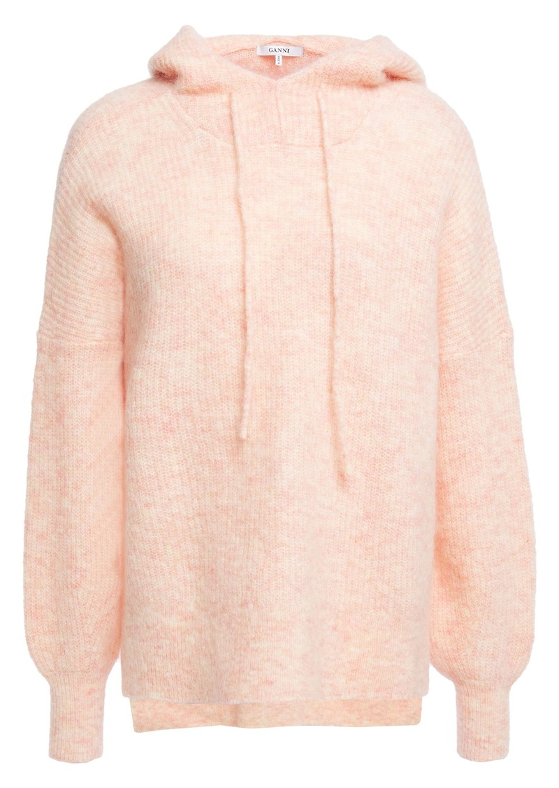 Ganni Woman Callahan Mélange Brushed Knitted Hoodie Peach