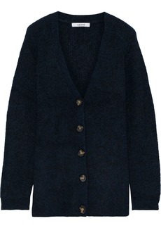 Ganni Woman Callahan Mélange Brushed Ribbed-knit Cardigan Midnight Blue