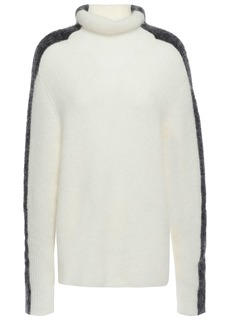 Ganni Woman Callahan Two-tone Brushed Ribbed-knit Turtleneck Sweater Off-white