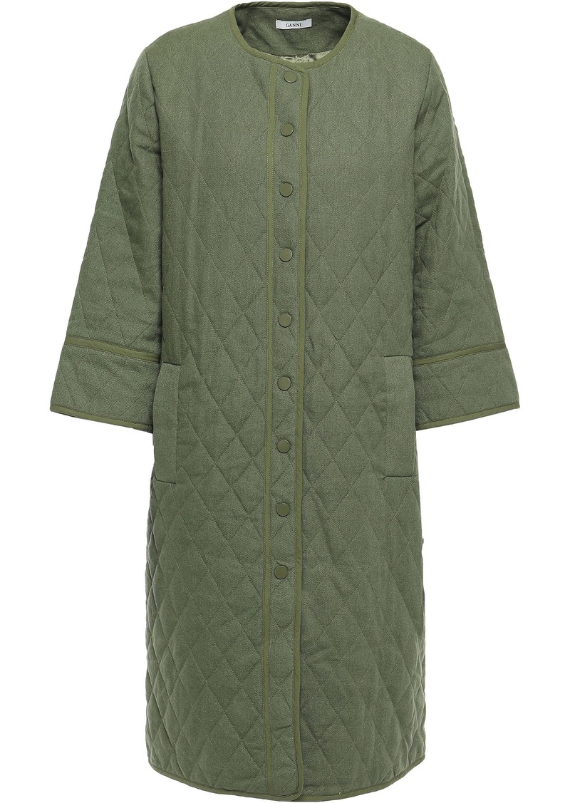 Ganni Woman Camellia Quilted Linen And Cotton-blend Jacket Army Green