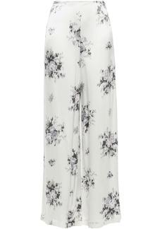 Ganni Woman Cameron Floral-print Satin Wide-leg Pants Off-white