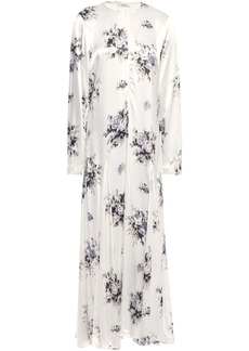 Ganni Woman Cameron Fluted Printed Satin Maxi Dress Ivory