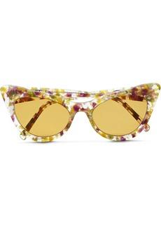 Ganni Woman Cat-eye Printed Acetate Sunglasses Clear