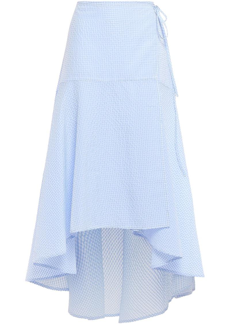 Ganni Woman Charron Checked Cotton-blend Seersucker Midi Wrap Skirt Light Blue