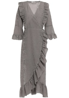 Ganni Woman Charron Ganache Gingham Cotton-blend Seersucker Midi Wrap Dress Dark Brown