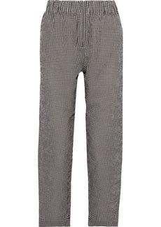 Ganni Woman Charron Gingham Cotton-seersucker Straight-leg Pants Chocolate