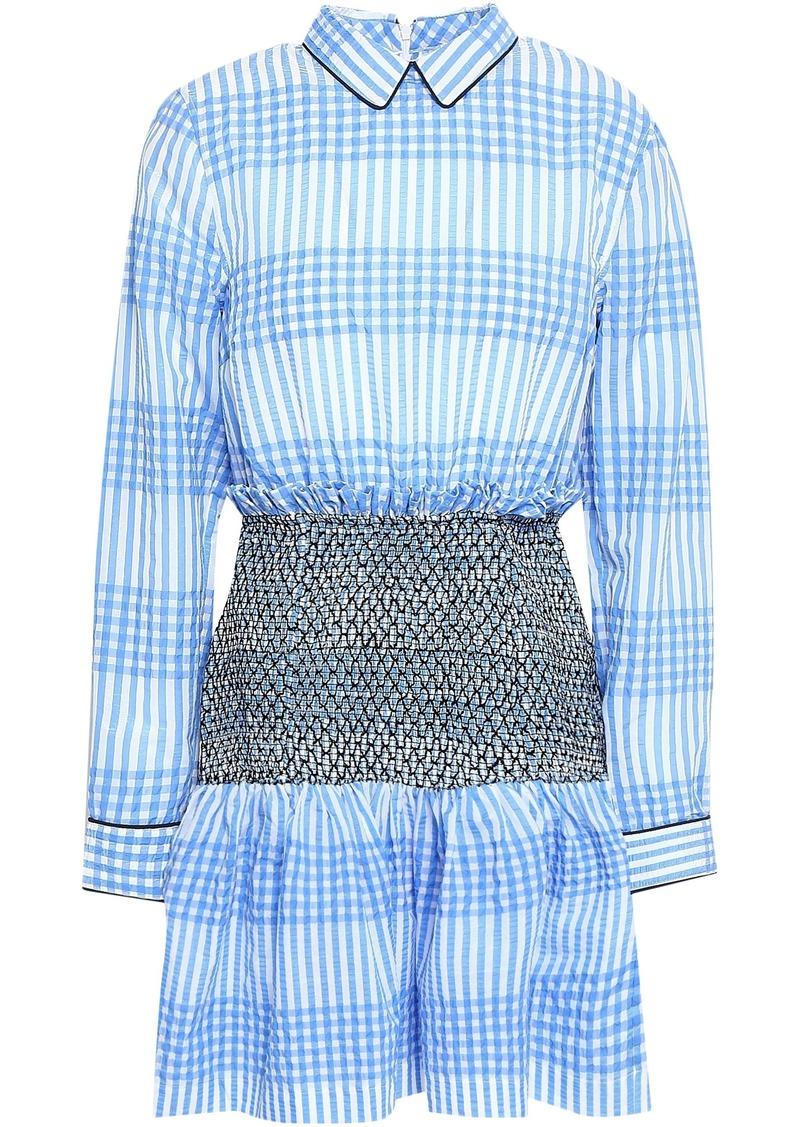 Ganni Woman Charron Smocked Gingham Cotton-blend Seersucker Mini Dress Light Blue