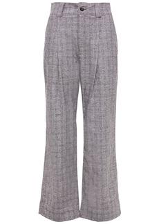 Ganni Woman Checked Bouclé Straight-leg Pants Gray