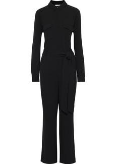 Ganni Woman Clark Belted Crepe Jumpsuit Black