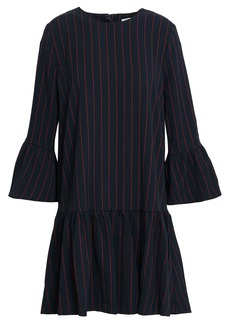 Ganni Woman Clark Pinstriped Crepe Mini Dress Midnight Blue
