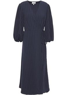 Ganni Woman Clark Pinstriped Stretch-crepe Midi Wrap Dress Navy