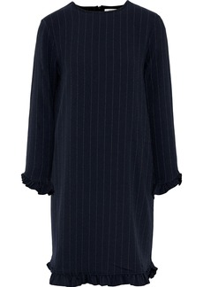 Ganni Woman Clark Ruffle-trimmed Pinstriped Crepe Mini Dress Midnight Blue