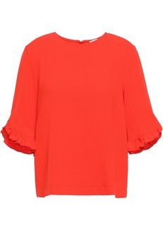 Ganni Woman Clark Ruffle-trimmed Stretch-crepe Blouse Tomato Red