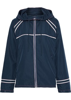 Ganni Woman Comstock Shell Hooded Track Jacket Navy