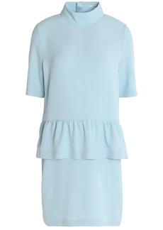 Ganni Woman Crepe Peplum Mini Dress Sky Blue