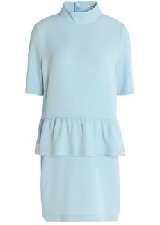 Ganni Woman Crepe Peplum Mini Dress Sky Blue